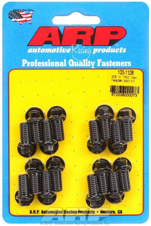 ARP 100-1108 Header Bolt, 3/8-16 in Thread, 0.750 in Long, Hex Head, Chromoly, Black Oxide, Universal, Set of 16
