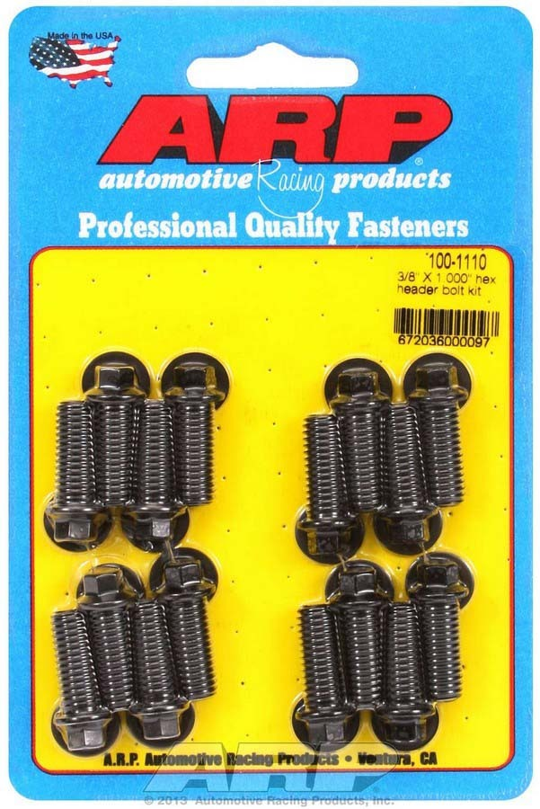 ARP 100-1110 Header Bolt, 3/8-16 in Thread, 1.000 in Long, Hex Head, Chromoly, Black Oxide, Universal, Set of 16