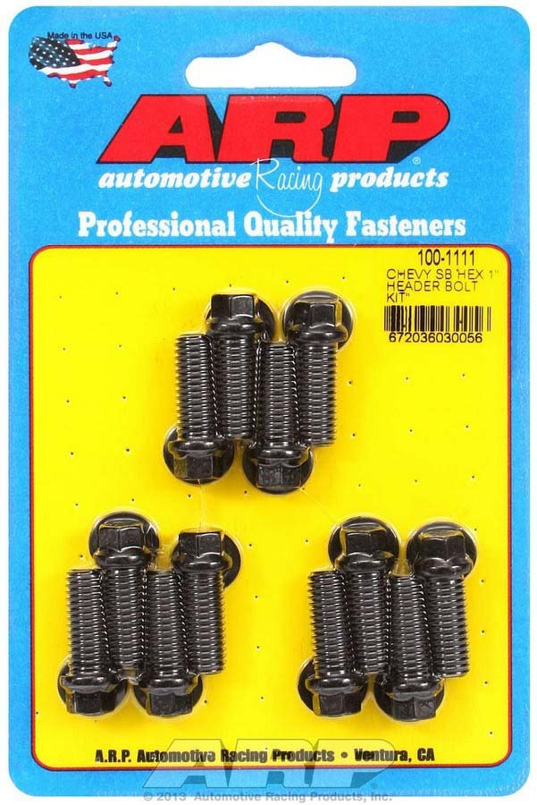 ARP 100-1111 Header Bolt, 3/8-16 in Thread, 1.000 in Long, Hex Head, Chromoly, Black Oxide, Small Block Chevy, Set of 12