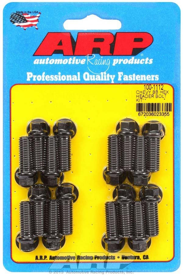 ARP 100-1112 Header Bolt, 3/8-16 in Thread, 1.000 in Long, Hex Head, Chromoly, Black Oxide, Big Block Chevy, Set of 16