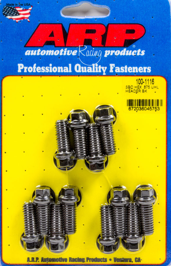 ARP 100-1116 Header Bolt, 3/8-16 in Thread, 0.875 in Long, Hex Head, Chromoly, Black Oxide, Universal, Set of 12