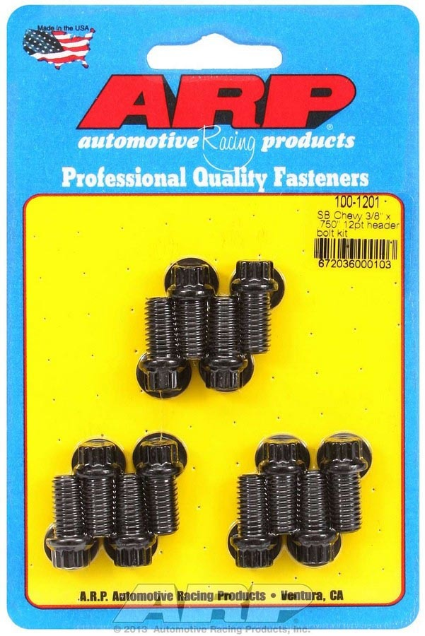 ARP 100-1201 Header Bolt, 3/8-16 in Thread, 0.750 in Long, 12 Point Head, Chromoly, Black Oxide, Small Block Chevy, Set of 12