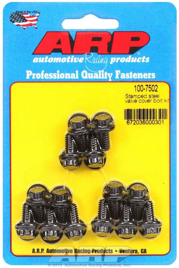 ARP 100-7502 Valve Cover Fastener, Bolt, 1/4-20 in Thread, 0.515 in Long, 12 Point Head, Washers Included, Chromoly, Black Oxide, Set of 14