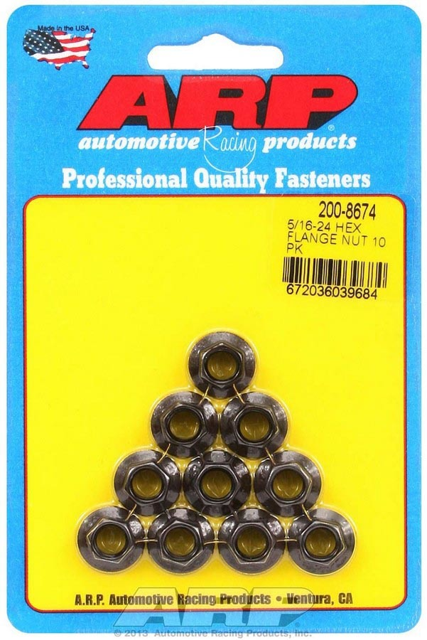 ARP 200-8674 Nut, Locking, 5/16-24 in Thread, 3/8 in Hex Head, Serrated Flange, Chromoly, Black Oxide, Set of 10