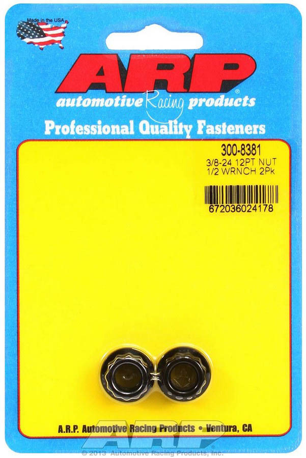 ARP 300-8381 Nut, 3/8-24 in Thread, 1/2 in 12 Point Head, Chromoly, Black Oxide, Universal, Pair