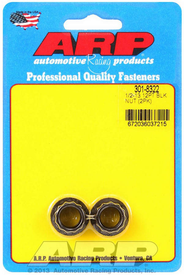 ARP 301-8322 Nut, 1/2-13 in Thread, 9/16 in 12 Point Head, Chromoly, Black Oxide, Universal, Pair
