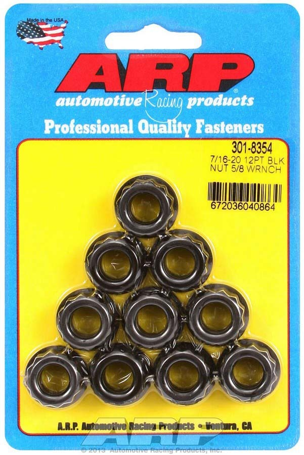 ARP 301-8354 Nut, Wrenching, 7/16-20 in Thread, 5/8 in 12 Point Head, Chromoly, Black Oxide, Set of 10