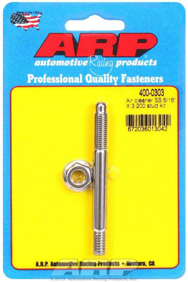 ARP 400-0303 Air Cleaner Stud, 5/16-18 in Thread, 3.200 in Long, Stainless, Polished, Each