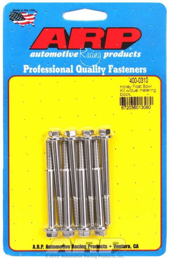 ARP 400-0310 Carburetor Float Bowl Bolt, Hex Head, Stainless, Polished, Dual Metering Block, Holley Carbs, Set of 8