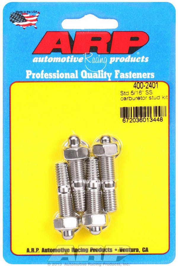 ARP 400-2401 Carburetor Stud, 5/16-18 and 5/16-24 in Thread, 1.700 in Long, Hex Nuts, Stainless, Polished, Set of 4