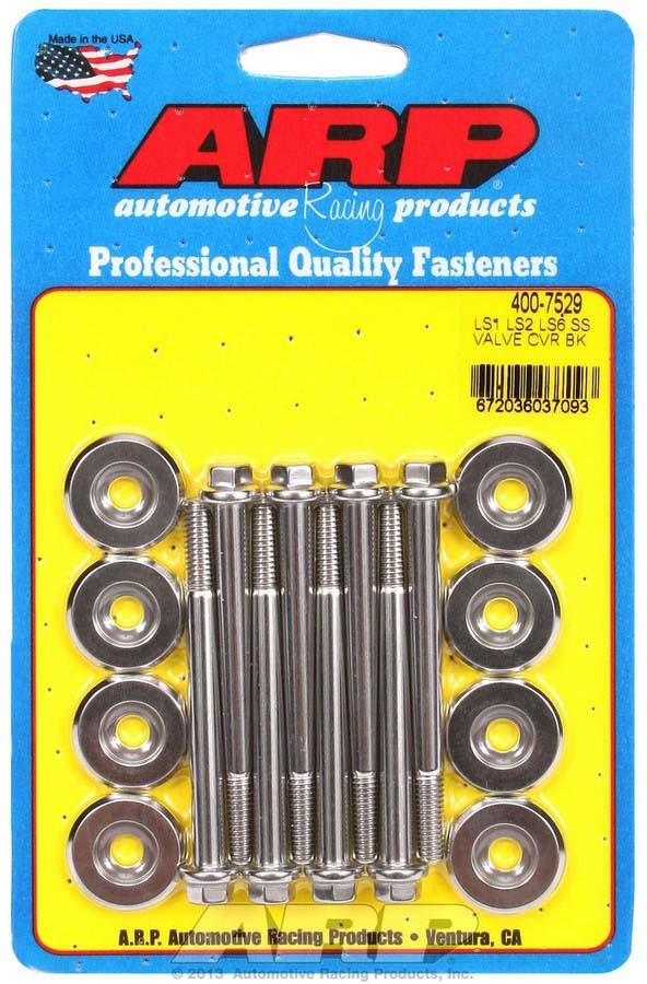ARP 400-7529 Valve Cover Fastener, Bolt, 6 mm Male Thread, 2.755 in Long, Hex Head, Stainless, Polished, GM LS-Series, Set of 8