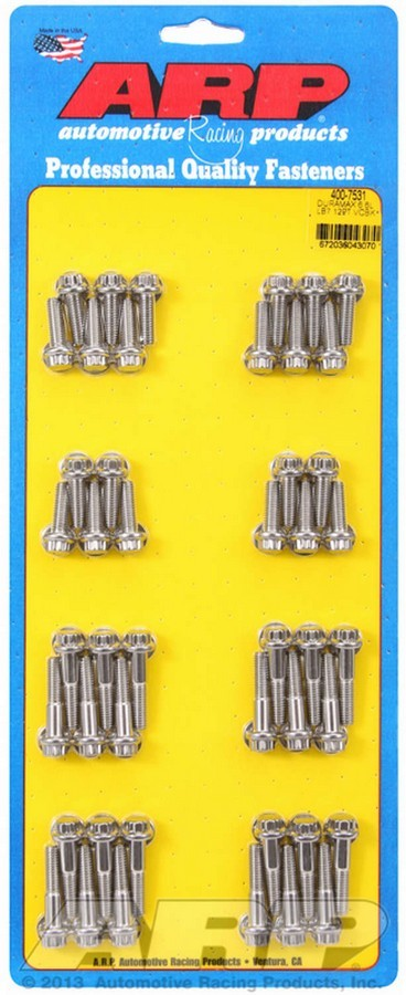 ARP 400-7531 Valve Cover Fastener, Bolt, 1/4-20 in Thread, 12 Point Head, Stainless, Natural, LB7, 6.6 L, GM Duramax, Kit