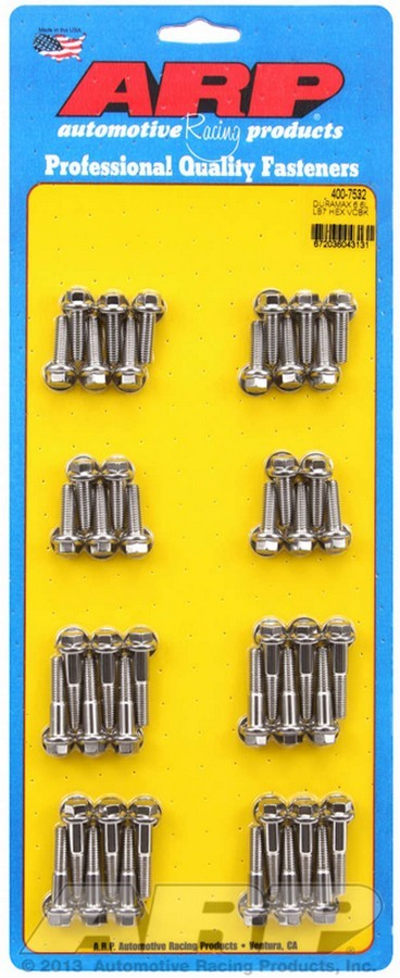 ARP 400-7532 Valve Cover Fastener, Bolt, 1/4-20 in Thread, Hex Head, Stainless, Natural, LB7, 6.6 L, GM Duramax, Kit