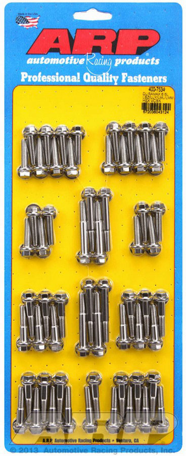 ARP 400-7534 Valve Cover Fastener, Bolt, 1/4-20 in Thread, Hex Head, Stainless, Natural, 6.6 L, GM Duramax, Kit