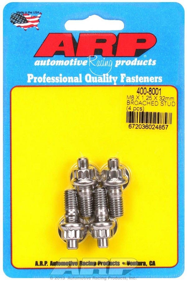 ARP 400-8001 Stud, 8 mm x 1.25 Thread, 1.250 in Long, 12 Point Nuts, Stainless, Polished, Universal, Set of 4