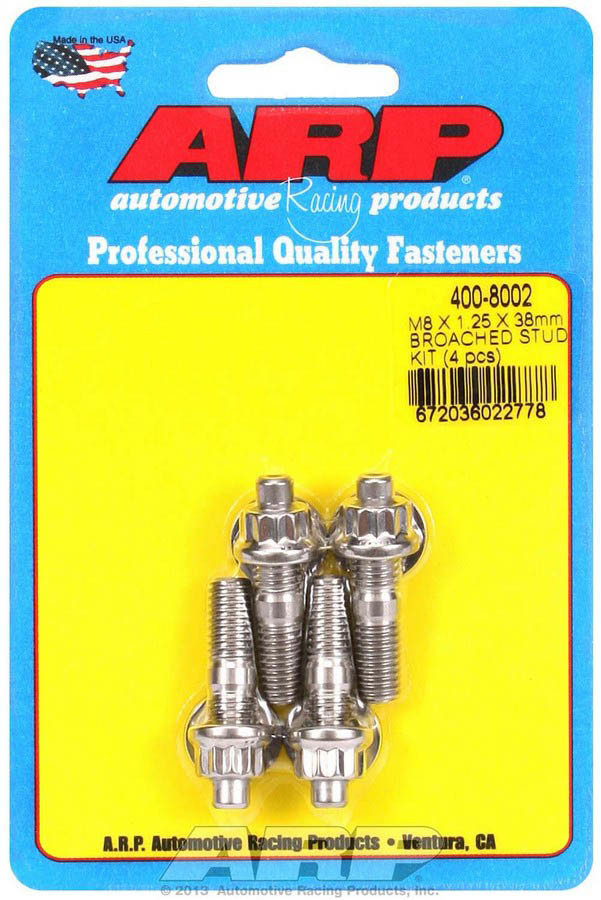 ARP 400-8002 Stud, 8 mm x 1.25 Thread, 1.500 in Long, 12 Point Nuts, Stainless, Polished, Universal, Set of 4