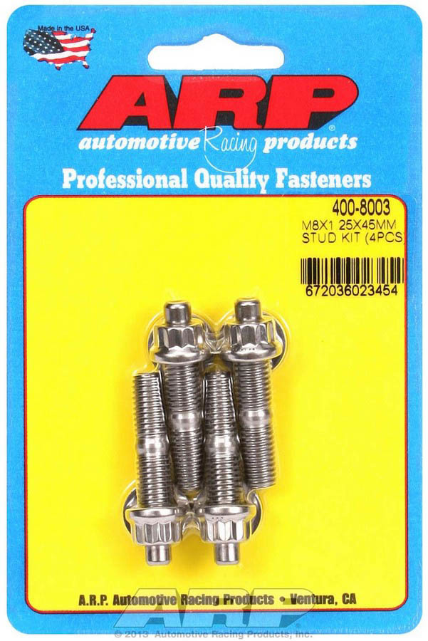 ARP 400-8003 Stud, 8 mm x 1.25 Thread, 1.750 in Long, 12 Point Nuts, Stainless, Polished, Universal, Set of 4