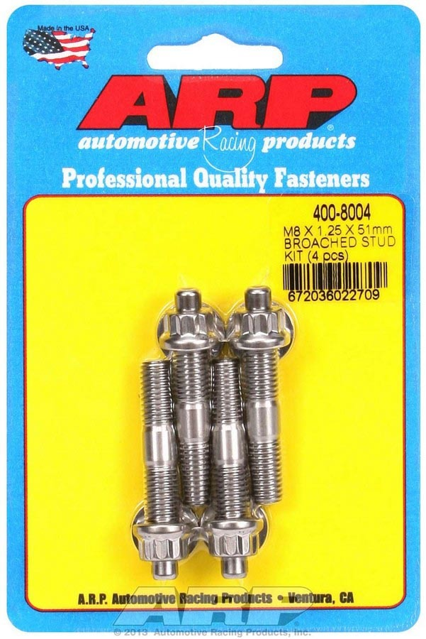 ARP 400-8004 Stud, 8 mm x 1.25 Thread, 2.000 in Long, 12 Point Nuts, Stainless, Polished, Universal, Set of 4
