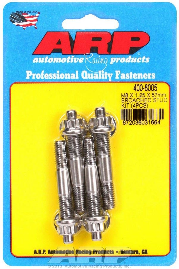 ARP 400-8005 Stud, 8 mm x 1.25 Thread, 2.250 in Long, 12 Point Nuts, Stainless, Polished, Universal, Set of 4