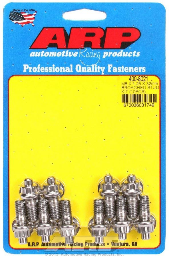 ARP 400-8021 Stud, 8 mm x 1.25 Thread, 1.250 in Long, 12 Point Nuts, Stainless, Polished, Universal, Set of 10