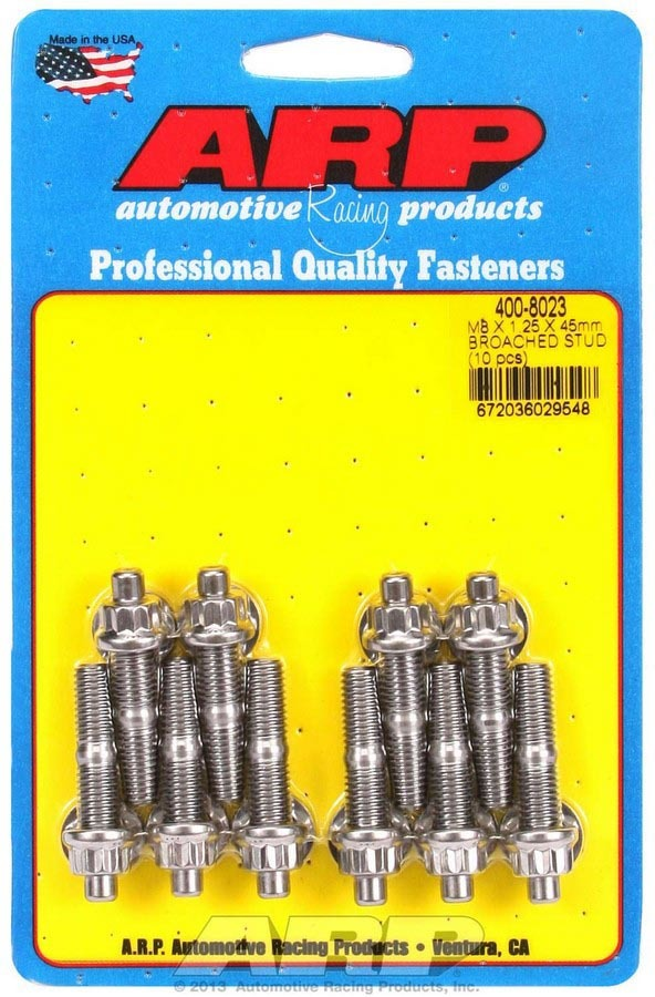 ARP 400-8023 Stud, 8 mm x 1.25 Thread, 1.750 in Long, 12 Point Nuts, Stainless, Polished, Universal, Set of 10