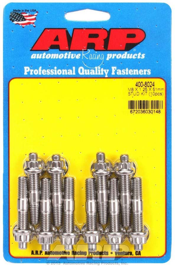 ARP 400-8024 Stud, 8 mm x 1.25 Thread, 2.000 in Long, 12 Point Nuts, Stainless, Polished, Universal, Set of 10
