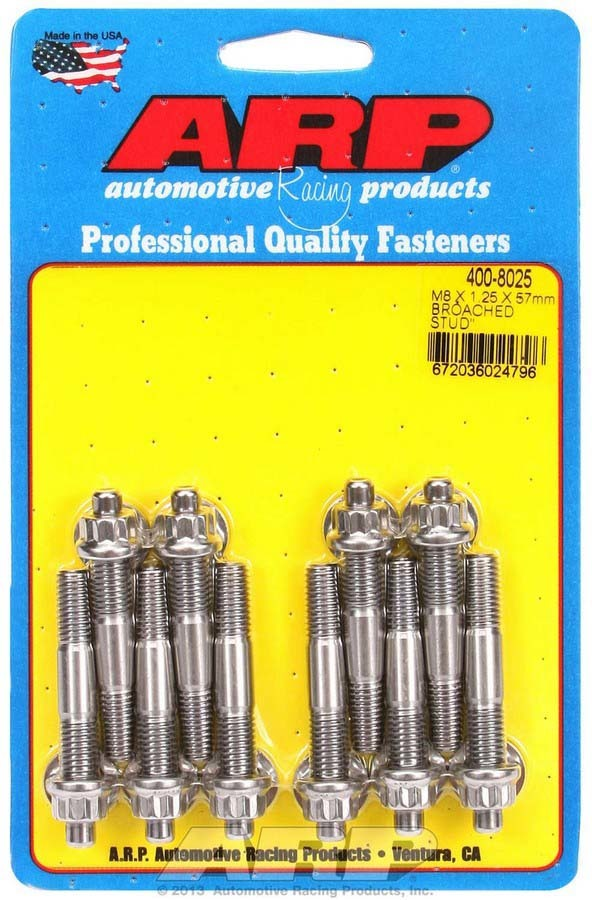 ARP 400-8025 Stud, 8 mm x 1.25 Thread, 2.250 in Long, 12 Point Nuts, Stainless, Polished, Universal, Set of 10