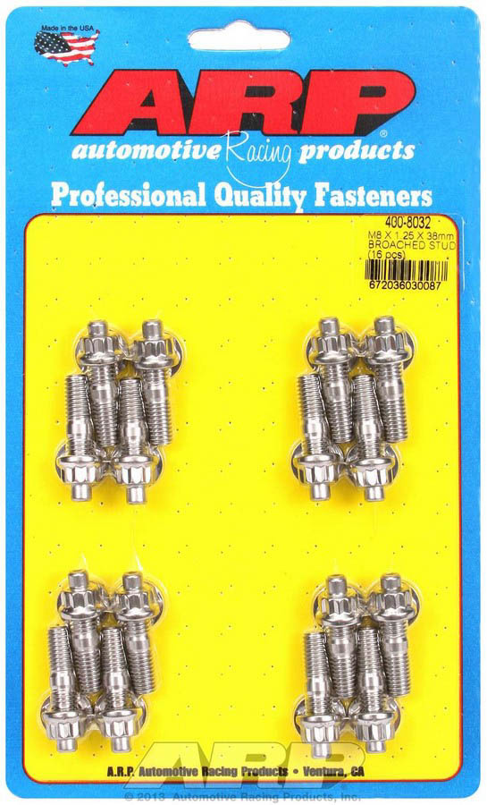 ARP 400-8032 Stud, 8 mm x 1.25 Thread, 1.500 in Long, 12 Point Nuts, Stainless, Polished, Universal, Set of 16