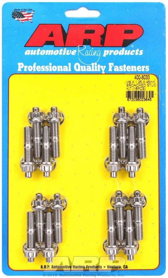 ARP 400-8033 Stud, 8 mm x 1.25 Thread, 1.750 in Long, 12 Point Nuts, Stainless, Polished, Universal, Set of 16