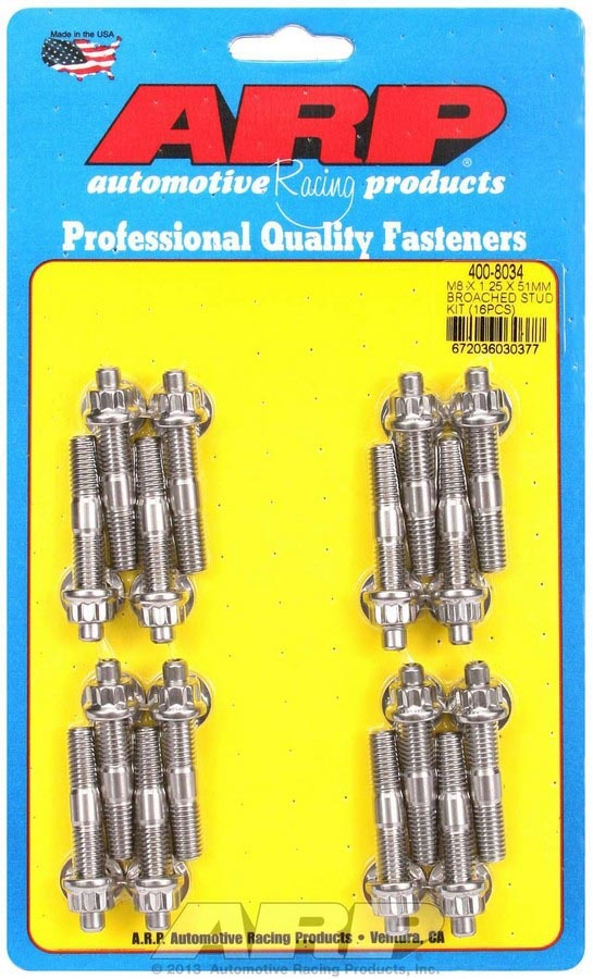 ARP 400-8034 Stud, 8 mm x 1.25 Thread, 2.000 in Long, 12 Point Nuts, Stainless, Polished, Universal, Set of 16