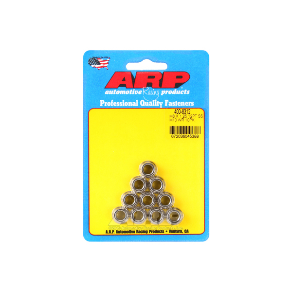 ARP 400-8312 Nut, 8 mm x 1.25 Thread, 10 mm 12 Point Head, Stainless, Polished, Universal, Set of 10