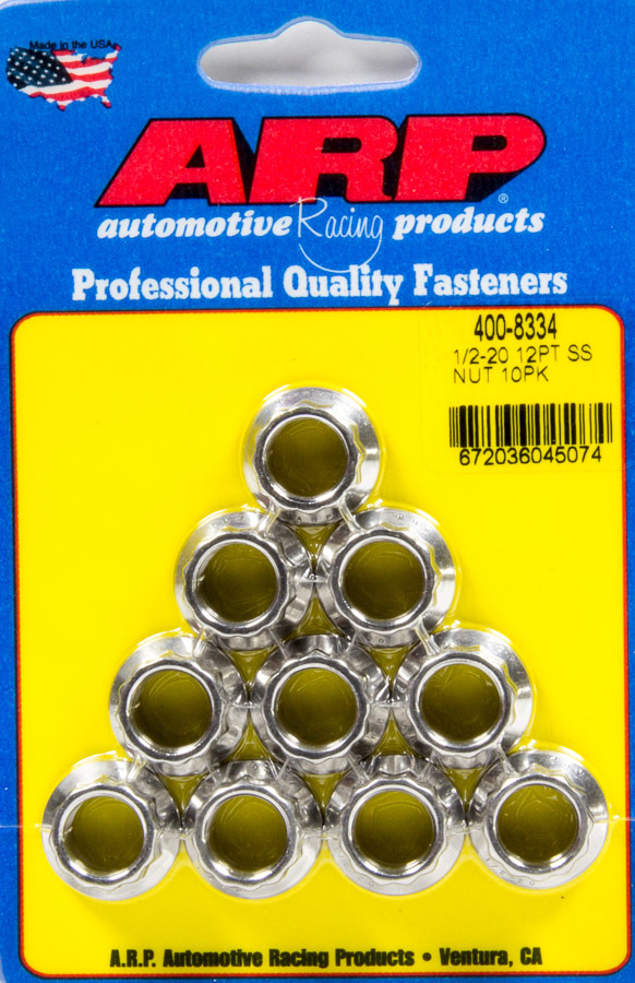 ARP 400-8334 Nut, 1/2-20 in Thread, 9/16 in 12 Point Head, Stainless, Polished, Universal, Set of 10