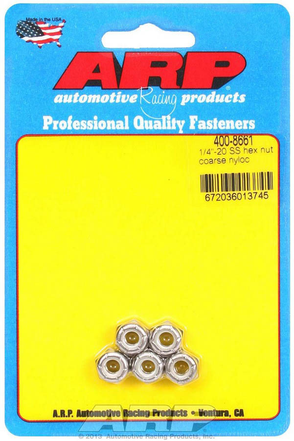 ARP 400-8661 Nut, Locking, 1/4-20 in Thread, Hex Head, Nylon Insert, Stainless, Polished, Set of 5