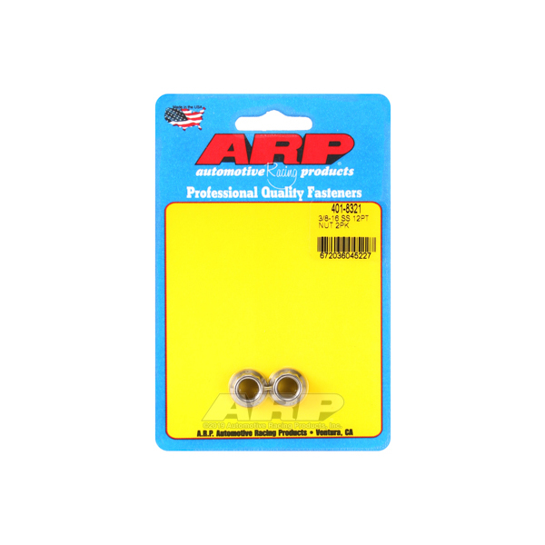 ARP 401-8321 Nut, 3/8-16 in Thread, 7/16 in 12 Point Head, Stainless, Polished, Universal, Pair