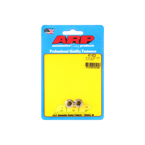 ARP 401-8323 Nut, 5/16-18 in Thread, 3/8 in 12 Point Head, Stainless, Polished, Universal, Pair