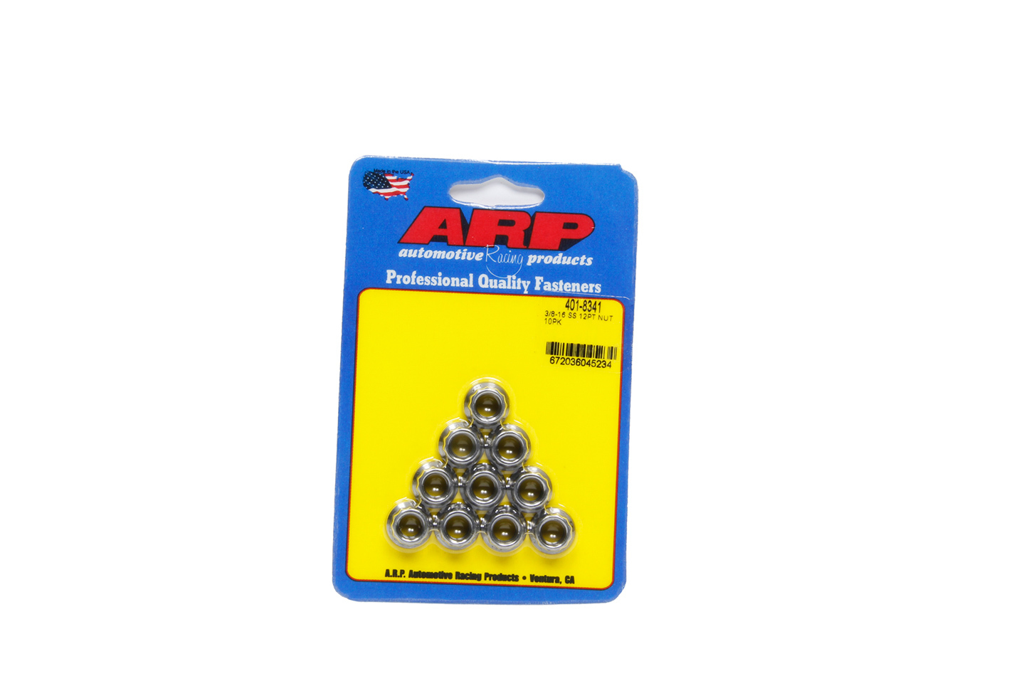 ARP 401-8341 Nut, 3/8-16 in Thread, 7/16 in 12 Point Head, Stainless, Polished, Universal, Set of 10