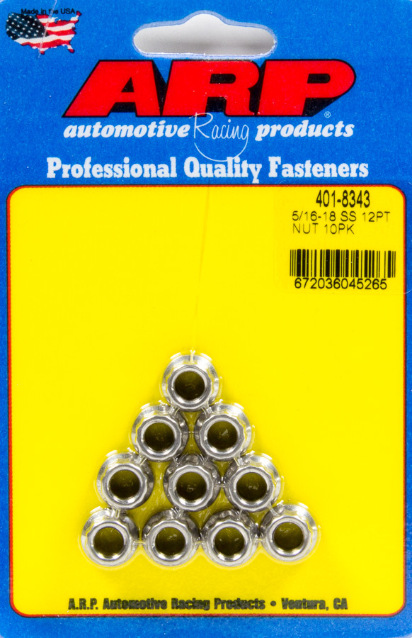 ARP 401-8343 Nut, 5/16-18 in Thread, 3/8 in 12 Point Head, Stainless, Polished, Universal, Set of 10