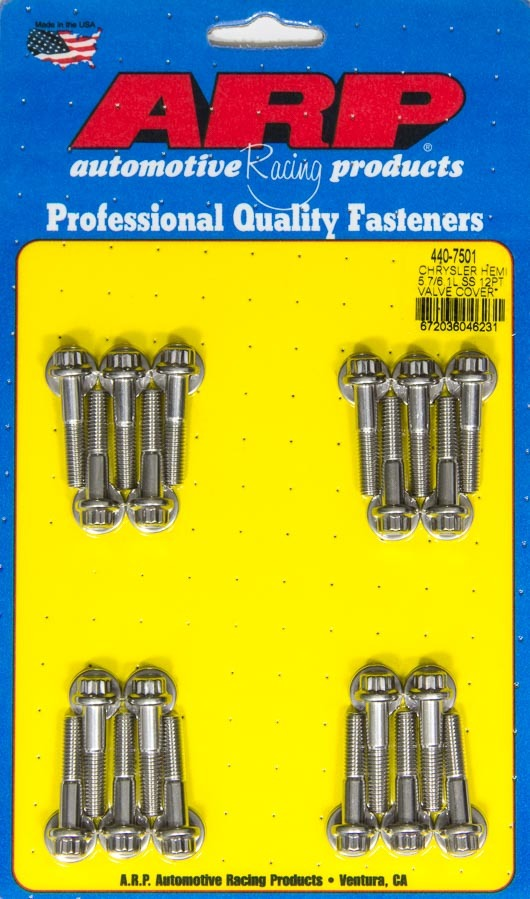 ARP 440-7501 Valve Cover Fastener, Bolt, 8 mm x 1.00 Thread, 30 mm Long, 12 Point Head, Stainless, Polished, Mopar Gen III Hemi, Set of 20