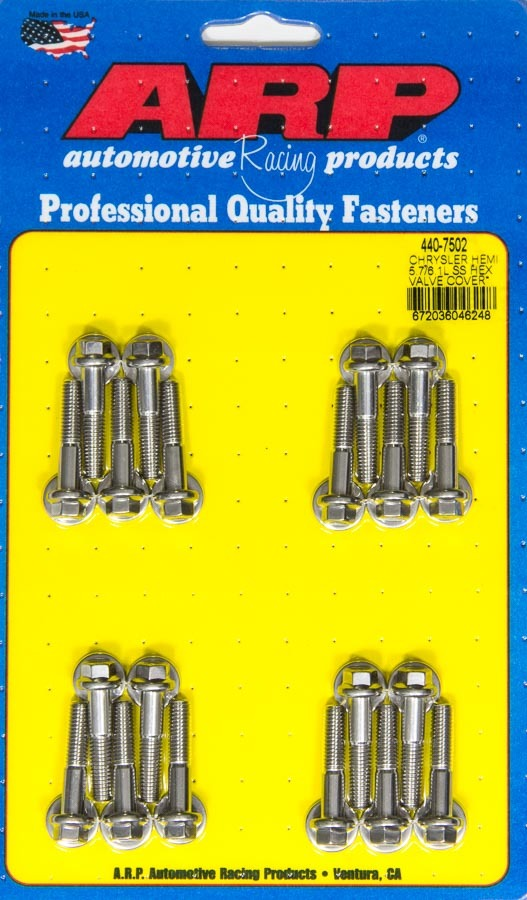 ARP 440-7502 Valve Cover Fastener, Bolt, 8 mm x 1.00 Thread, 30 mm Long, Hex Head, Stainless, Polished, Mopar Gen III Hemi, Set of 20