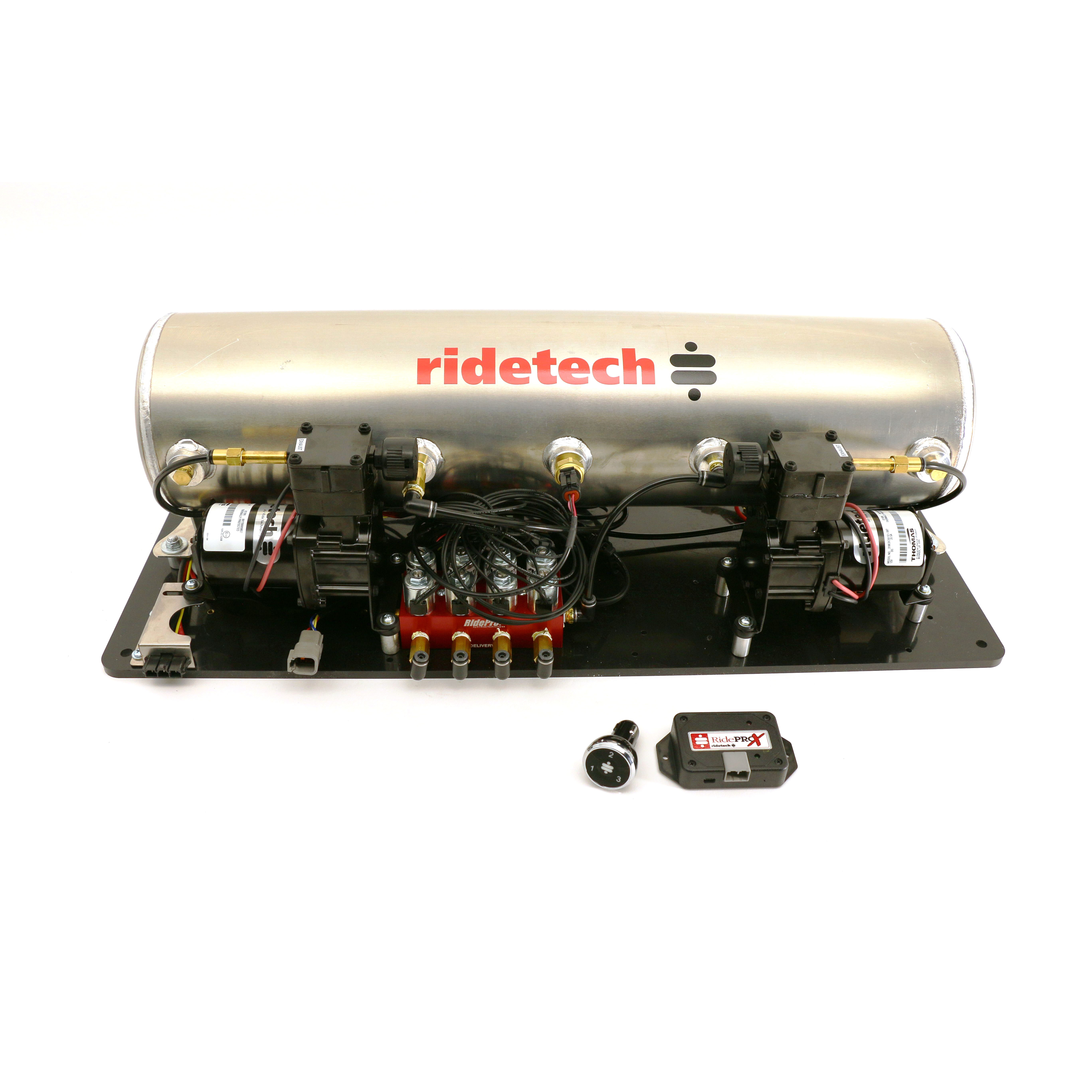Ridetech 30414100 Air Compressor, AirPod, Suspension, 5 gal, 150 psi Max, 12V, Digital 4 Corner Gauge, Controls / Fittings / Lines / Tank, Ridetech Air Spring Kits, Kit