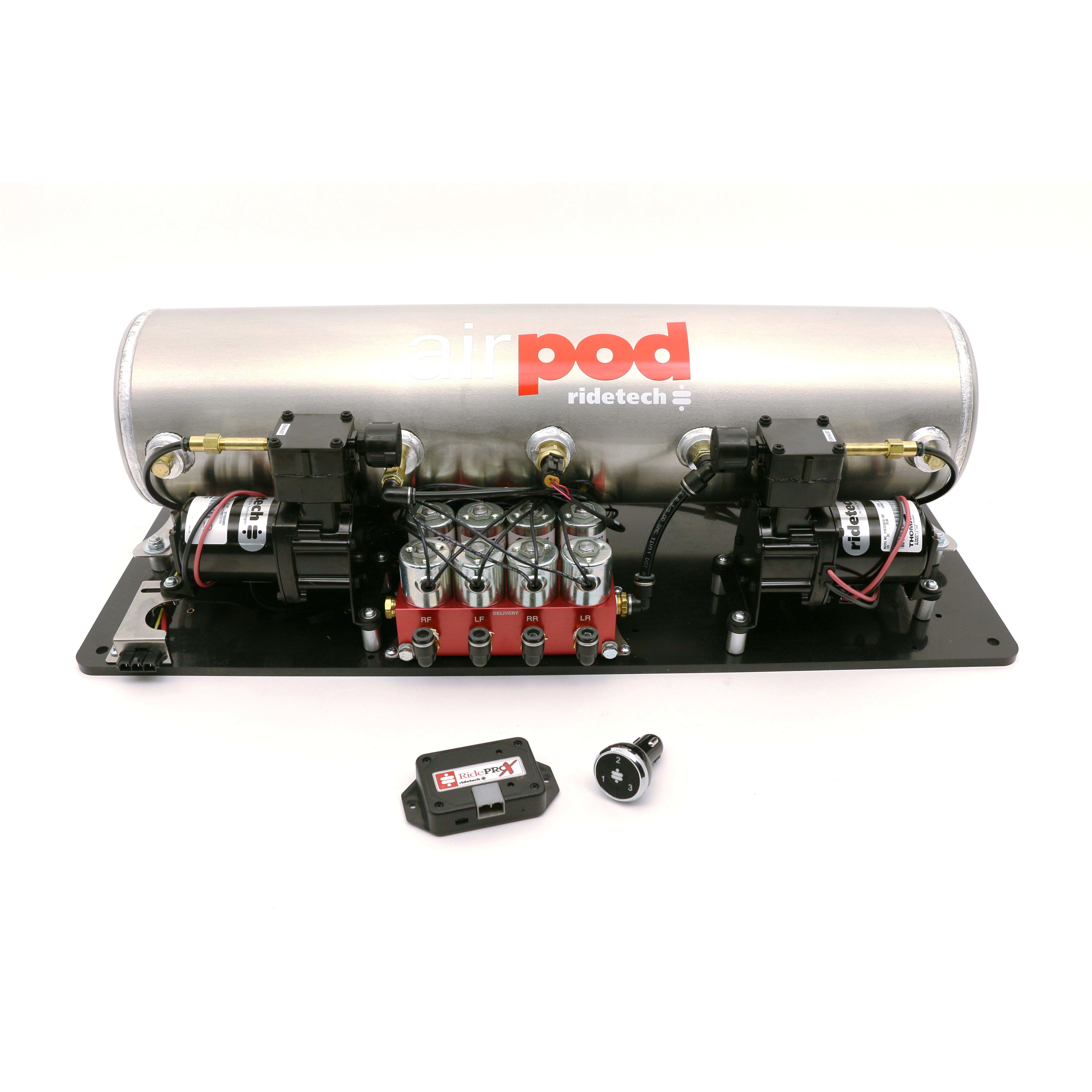 Ridetech 30414700 Air Compressor, Big Red AirPod, Suspension, 5 gal, 150 psi Max, 12V, Digital 4 Corner Gauge, Controls / Fittings / Lines / Tank, Ridetech Air Spring Kits, Kit