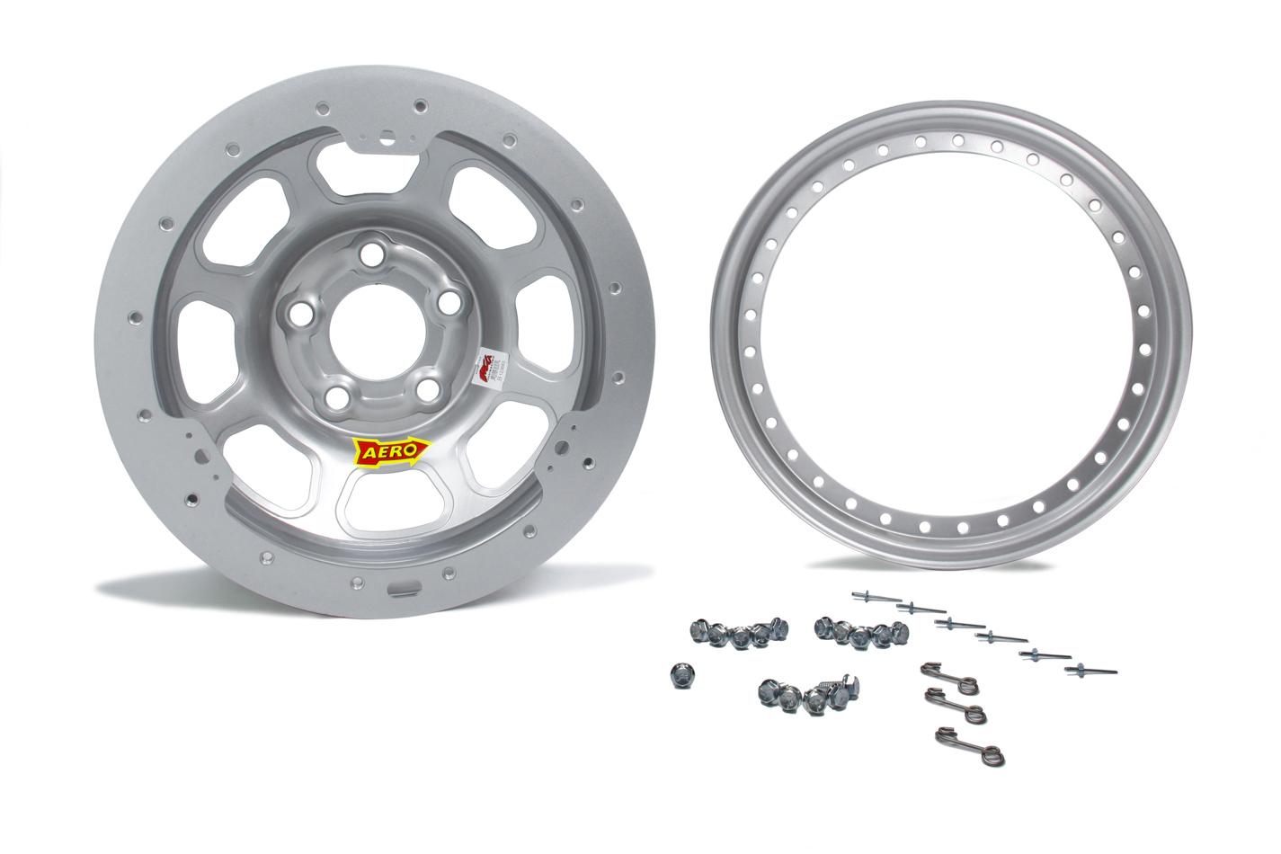 Aero Race Wheels 53-005050S Wheel, 53-Series, 15 x 10 in, 5.000 in Backspace, 5 x 5.00 in Bolt Pattern, Beadlock, Steel, Silver Powder Coat, Each