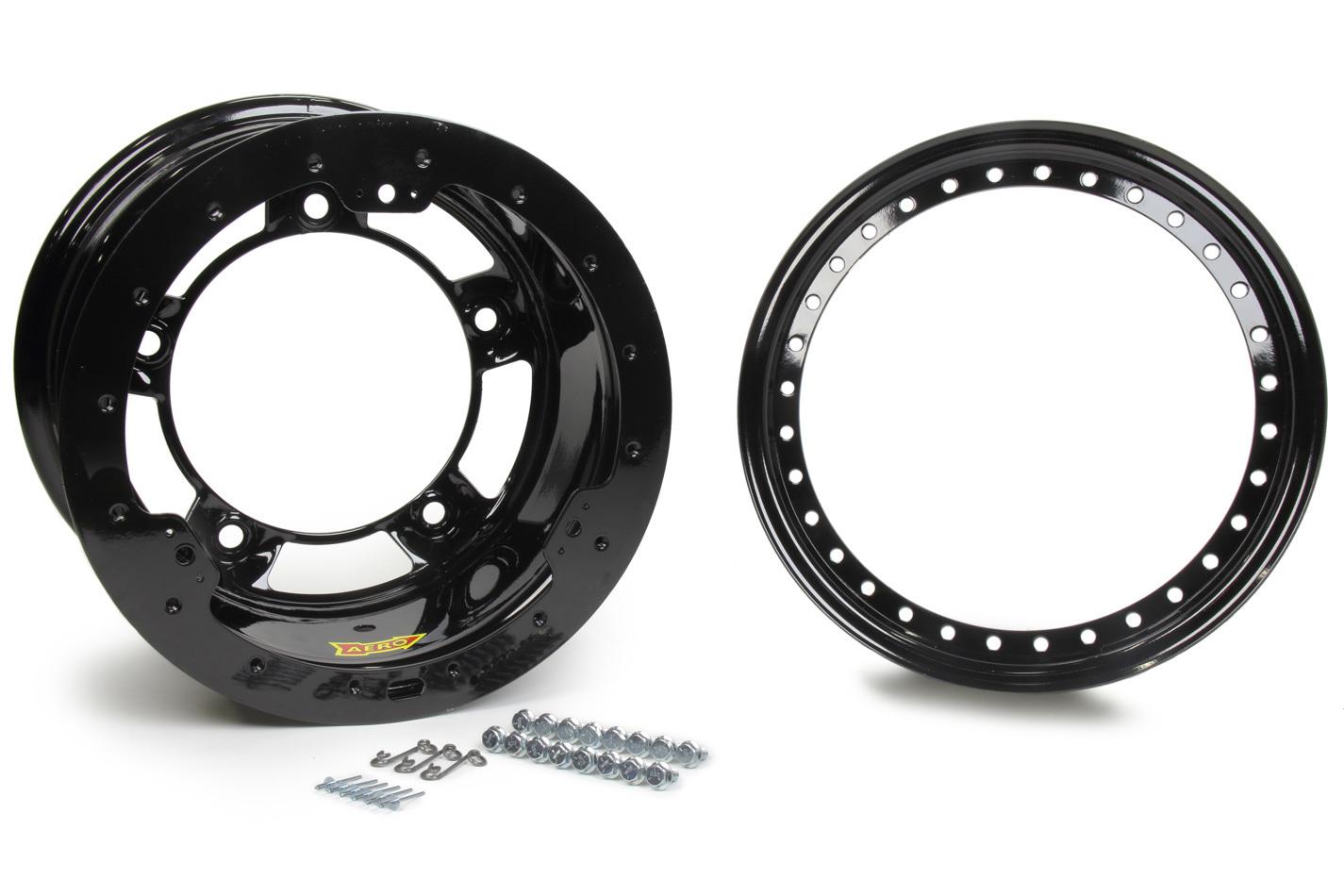 Aero Race Wheels 53-100550B Wheel, 53-Series, 15 x 10 in, 5.000 in Backspace, Wide 5 Bolt Pattern, Beadlock, Steel, Black Powder Coat, Each