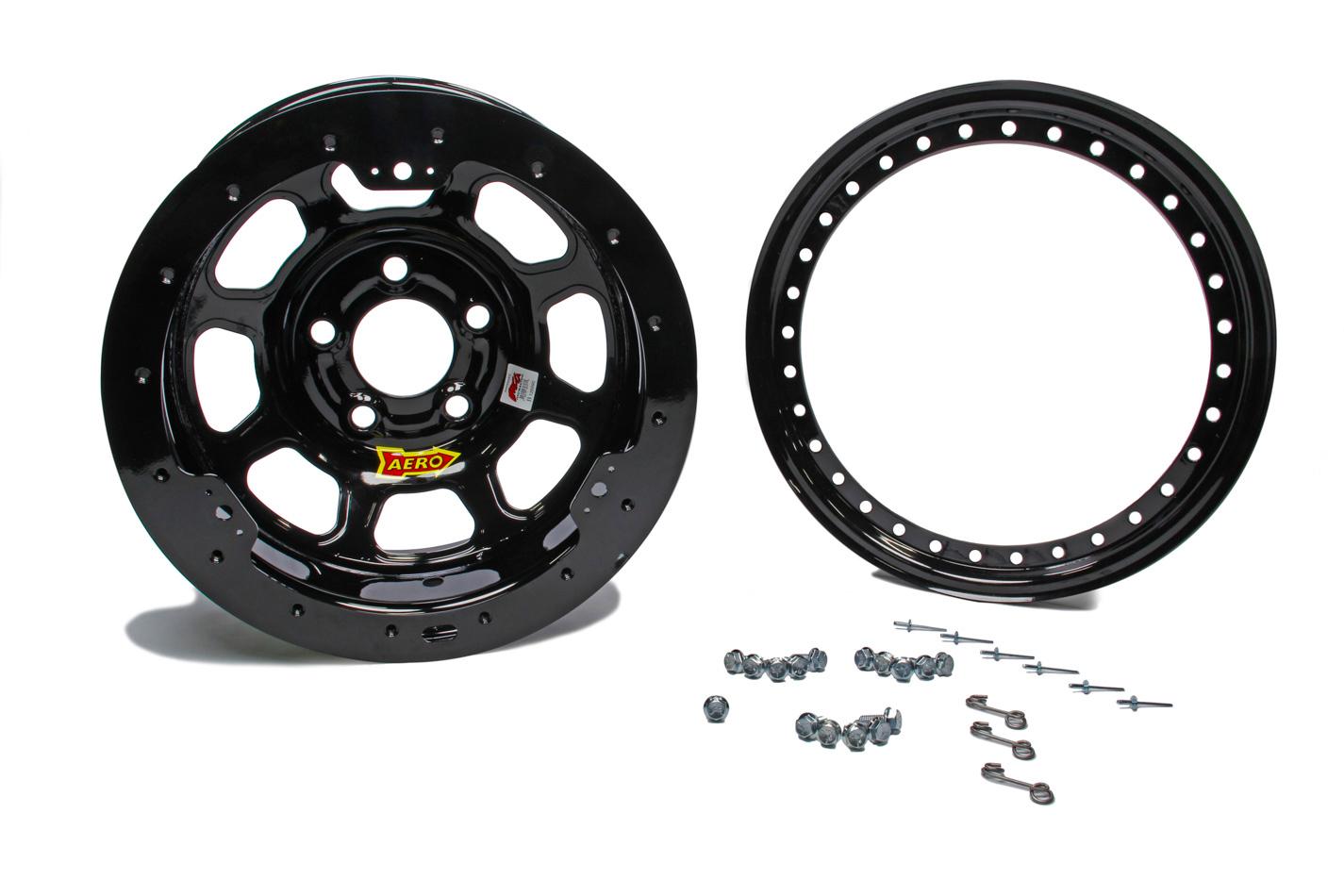 Aero Race Wheels 53-174730B Wheel, 53-Series, 15 x 7 in, 3.000 in Backspace, 5 x 4.75 in Bolt Pattern, Beadlock, Steel, Black Powder Coat, Each