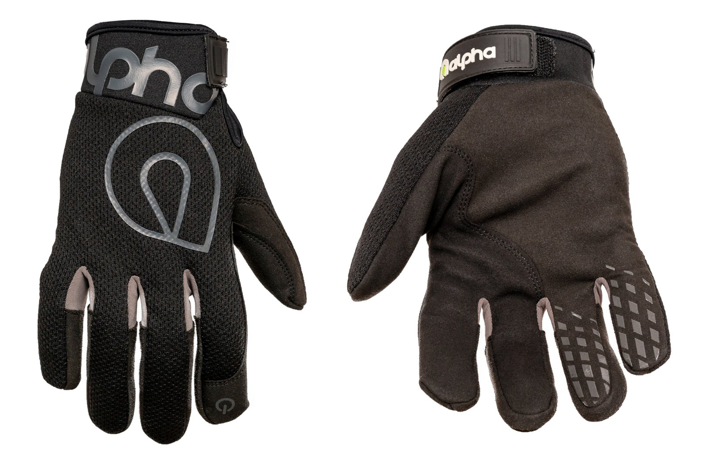 Alpha Gloves AG02-01-M Gloves, Shop, The Standard, Hook and Loop Closure, Neoprene Cuff, Mesh Top, Touch Screen Capable, Synthetic Leather Palm, Black, Medium, Pair