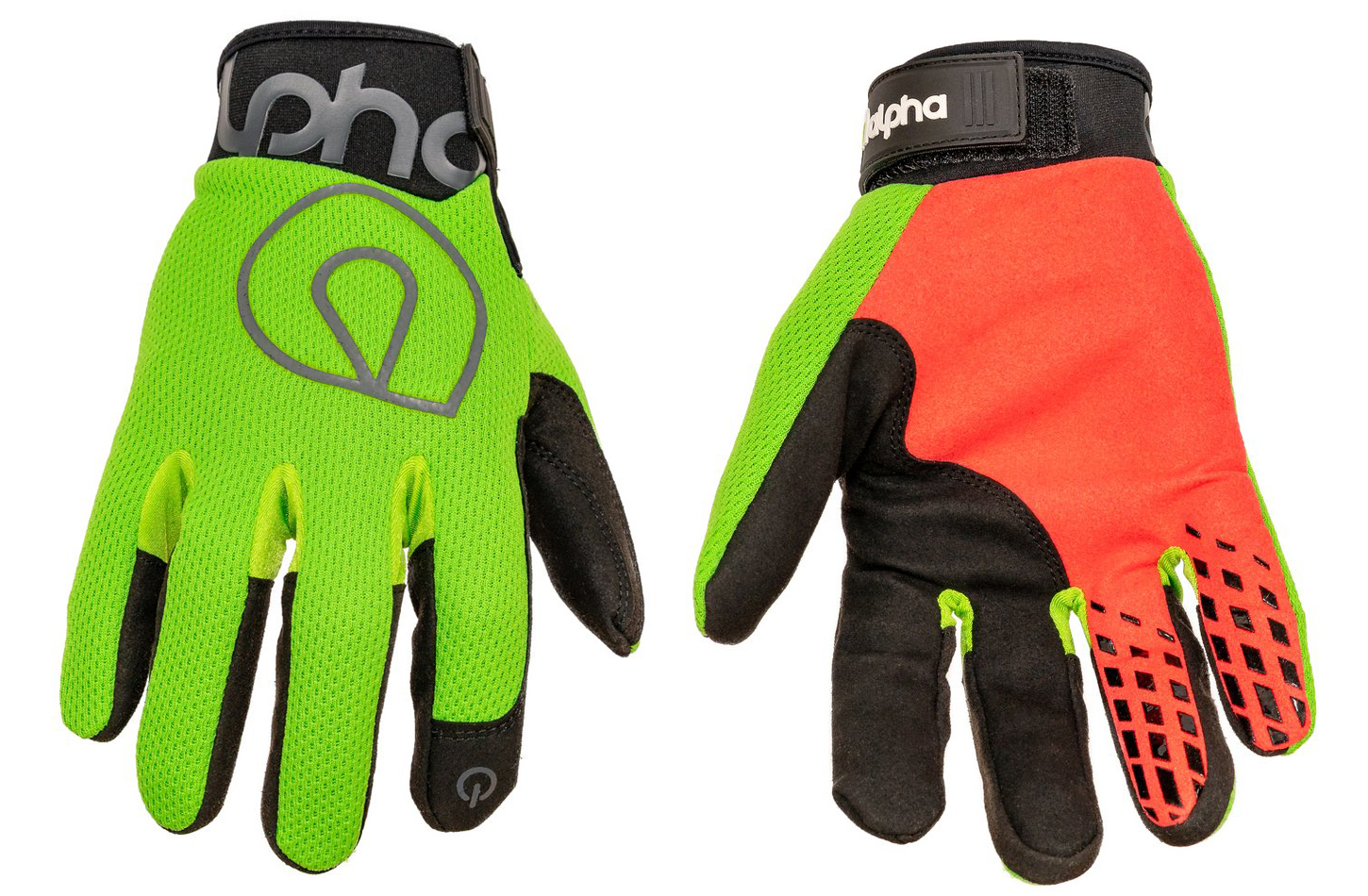 Alpha Gloves AG02-04-S Gloves, Shop, The Standard, Hook and Loop Closure, Neoprene Cuff, Mesh Top, Touch Screen Capable, Synthetic Leather Palm, Fluorescent Green, Small, Pair