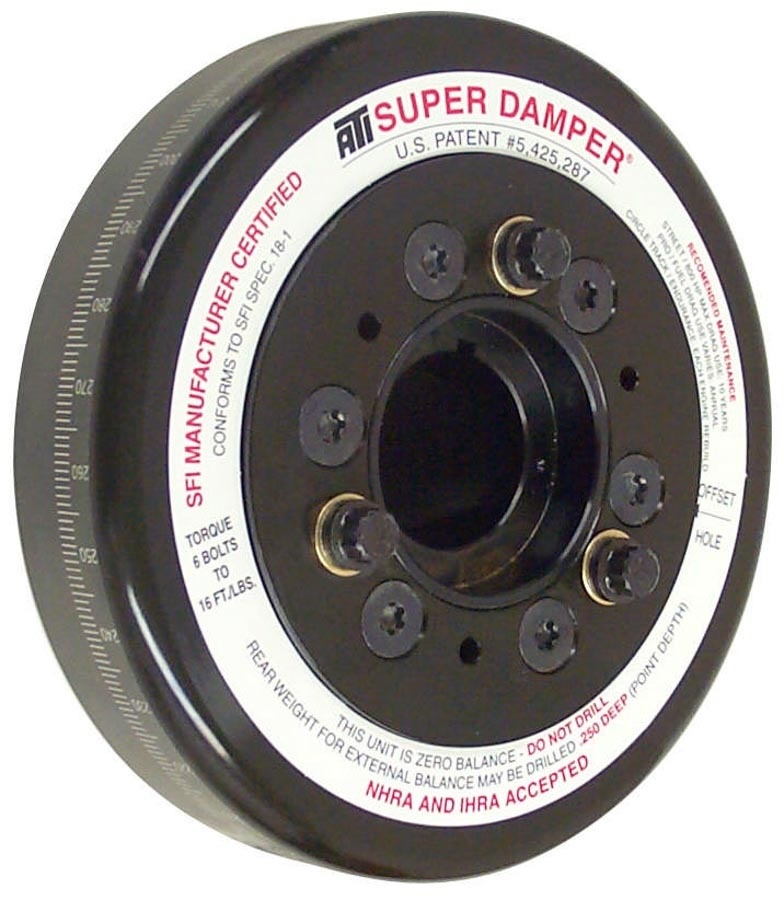 ATI Performance 917080 Harmonic Balancer, Super Damper, 7.074 in OD, SFI 18.1, Steel, Black, External Balance, Small Block Chevy, Each