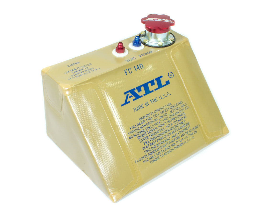 ATL Fuel Cells FC140 Fuel Cell Bladder, Formula / Sport Race Wedge, 4 gal, Nut Ring / Gasket, Foam, Rubber, Kit