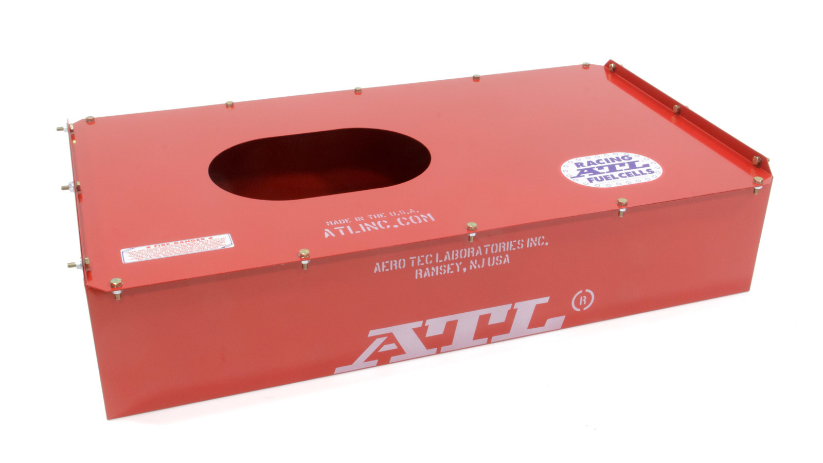 ATL Fuel Cells MC617 Fuel Cell Can, Vertical Edge, 17 gal, 34 x 17-1/2 x 7-5/16 in Tall, Steel, Red Powder Coat, Each