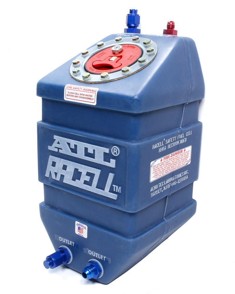 ATL Fuel Cells RA103.FIA Fuel Cell, Racell, 3 gal, 8 x 8 x 15 in Tall, FIA Approved, 8 AN Outlet / Return, 6 AN Vent, Foam, Plastic, Blue, Each